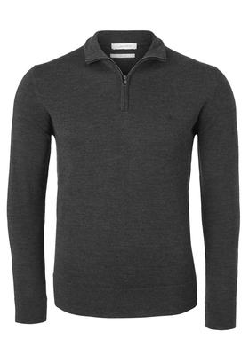 Calvin Klein superior wool zip mock pullover, heren trui wol, antraciet grijs