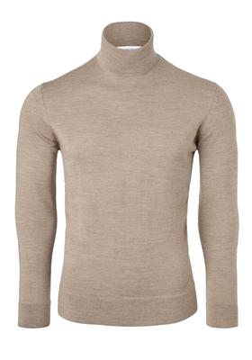 Calvin Klein superior wool pullover, heren coltrui wol, beige