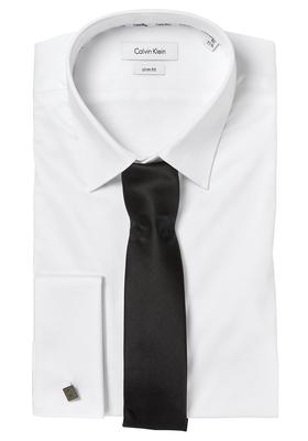 Calvin Klein Slim Fit overhemd (Bari), wit dubbele manchet + stropdas en manchetknopen
