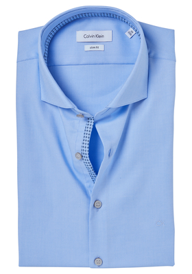 Calvin Klein Slim Fit overhemd (Norwich), blauw structuur (contrast)