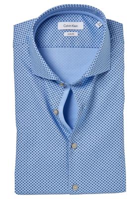 Calvin Klein Slim Fit overhemd (Norwich), blauw structuur dessin (contrast)