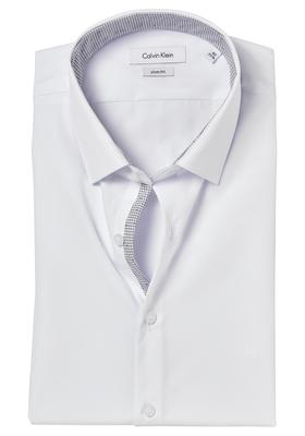 Calvin Klein Slim Fit overhemd (Bari), wit (groen contrast)