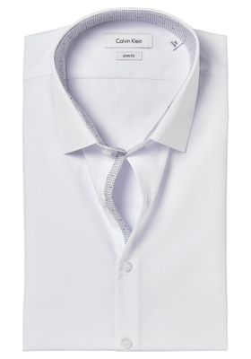 Calvin Klein Slim Fit overhemd (Bari), wit (grijs-donkerrood contrast)