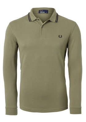 Fred Perry M3636 shirt, polo lange mouw Olive/Black