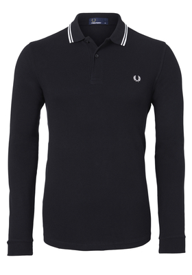 Fred Perry M3636 shirt, polo lange mouw Black/Porcelain