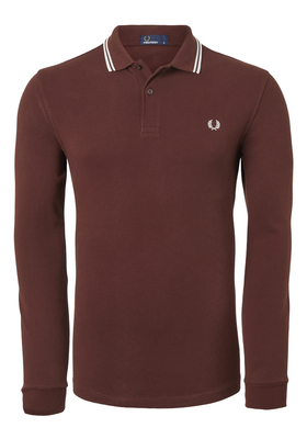 Fred Perry M3636 shirt, polo lange mouw Stadium Red/Ecru