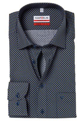 MARVELIS Modern Fit overhemd, blauw-oker dessin