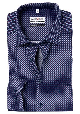 MARVELIS Comfort Fit overhemd, blauw-wit-rood dessin