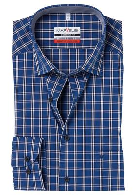 MARVELIS Comfort Fit overhemd, blauw-wit geruit (contrast)