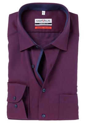 MARVELIS Comfort Fit overhemd, licht en donker bordeaux structuur (contrast)