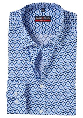 MARVELIS Body Fit overhemd, donkerblauw-wit dessin