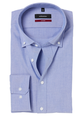 Seidensticker Modern Fit overhemd, blauw (button-down)