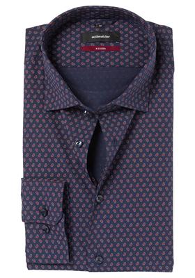 Seidensticker Modern Fit overhemd, donkerblauw-rood dessin