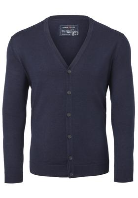 MARVELIS heren vest wol, V-hals, donkerblauw