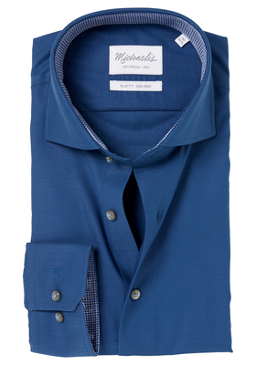 Michaelis Slim Fit overhemd, navy blauw fijne twill (contrast)
