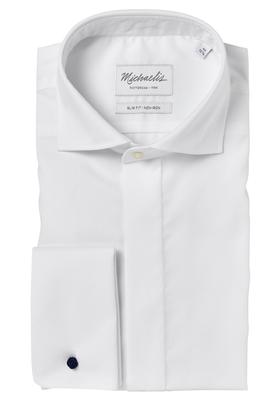 Michaelis Slim Fit smoking overhemd, wit haifisch kraag