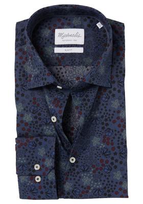 Michaelis Slim Fit overhemd, blauw bloem dessin