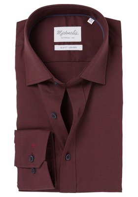 Michaelis Slim Fit overhemd, bordeaux rood Oxford