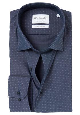Michaelis Slim Fit overhemd, blauw mini dessin