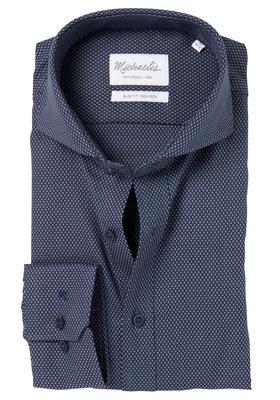 Michaelis Slim Fit overhemd, blauw jacquard structuur dessin