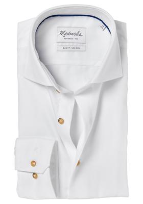 Michaelis Slim Fit overhemd, wit twill