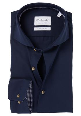 Michaelis Slim Fit overhemd, blauw twill (contrast)
