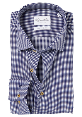 Michaelis Slim Fit overhemd, donkerblauw jacquard structuur dessin