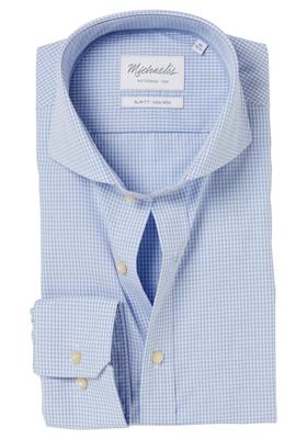 Michaelis Slim Fit overhemd, lichtblauw mini ruitje