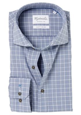 Michaelis Slim Fit overhemd, blauw prince de Galle ruitje
