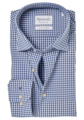 Michaelis Slim Fit overhemd, blauw-wit ruitje