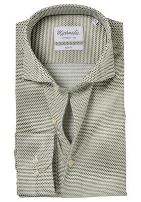 Michaelis Slim Fit overhemd, olijf groen-wit dessin