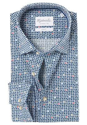 Michaelis Slim Fit overhemd, blauw-wit-kleurtjes dessin