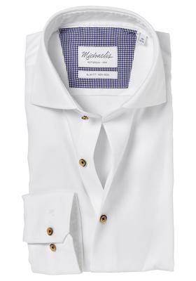 Michaelis Slim Fit overhemd, wit fijne twill