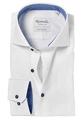 Michaelis Slim Fit overhemd, wit structuur (contrast)