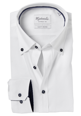 Michaelis Slim Fit overhemd, wit fijne twill (contrast)