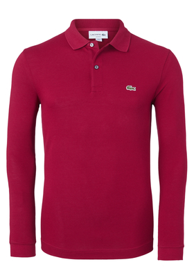 Lacoste Slim Fit polo lange mouw, donkerrood