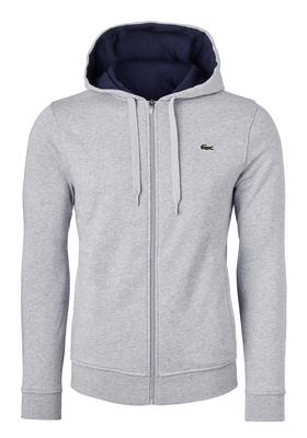 Lacoste heren sweatshirt, lichtgrijs vest (hoody met rits)