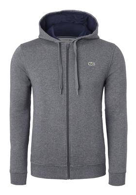 Lacoste heren sweatshirt, antraciet grijs vest (hoody met rits)