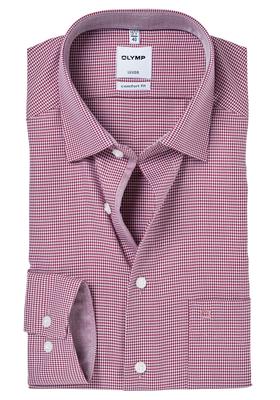 OLYMP Comfort Fit overhemd, bordeaux rood pied de poule (contrast)