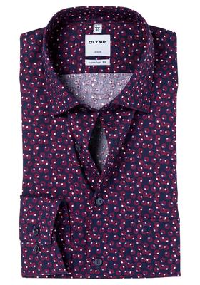 OLYMP Comfort Fit overhemd, bordeaux-blauw dessin