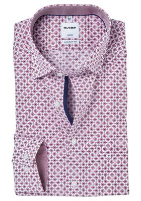 OLYMP Comfort Fit overhemd, bordeaux rood-wit dessin (contrast)
