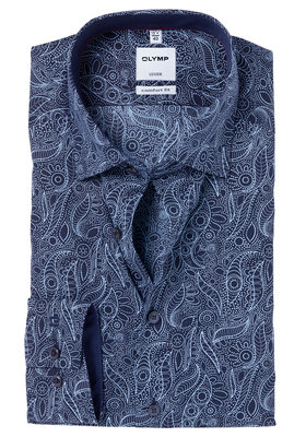 OLYMP Comfort Fit overhemd, donkerblauw dessin (contrast)