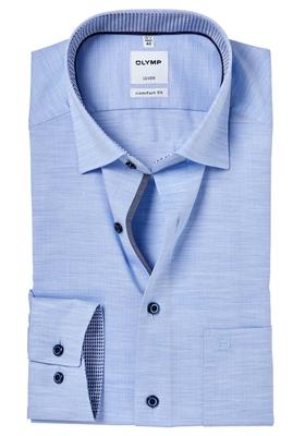 OLYMP Comfort Fit overhemd, lichtblauw twill melange (contrast)