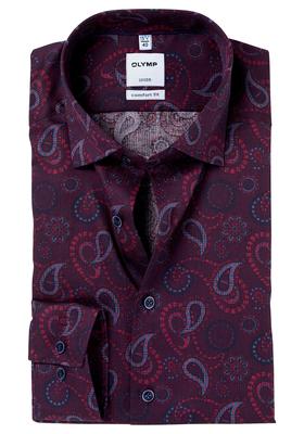 OLYMP Comfort Fit overhemd, bordeaux-blauw dessin (contrast)