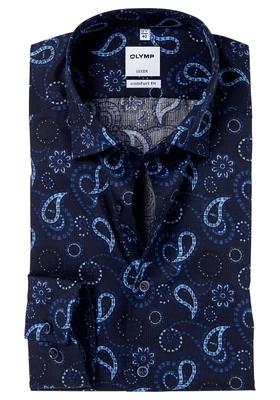 OLYMP Comfort Fit overhemd, blauw dessin (contrast)
