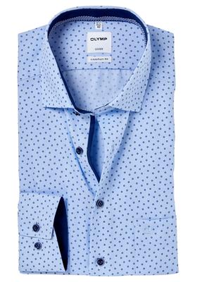 OLYMP Comfort Fit overhemd, lichtblauw structuur print (contrast)