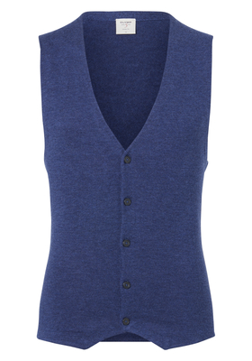 OLYMP Level 5, heren gilet wol, jeans blauw mouwloos vest (Slim Fit)
