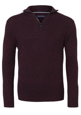 Casa Moda heren trui wol met rits, bordeaux rood melange