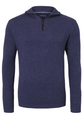 Casa Moda heren trui wol met rits, blauw melange