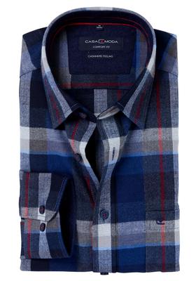 Casa Moda Comfort Fit overhemd, blauw-rood geruit (Cashmere feeling)